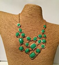 GREEN FACETED BEAD GOLD STATEMENT BIB NECKLACE & EARRING SET