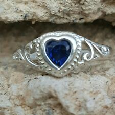 .925 Sterling Silver Ring size 5 Heart Kids Midi Blue Sapphire Ladies New