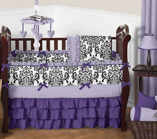 Luxury Purple Lavender Black White Damask Polka Dot Baby Girls Crib Bedding Set