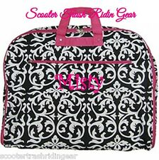Personalized Garment Bag tote Damask Print pink trim monogrammed dress hanging