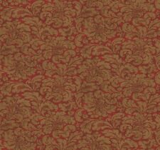 Wallpaper Designer Gold Damask Print on Red Faux