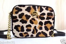 AUTHENTIC MICHAEL KORS FULTON LEATHER CALF HAIR LEOPARD/BLACK CROSSBODY BAG+BOX