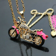 B568F  Betsey Johnson Crystal Enamel Motorcycle Pendant Sweater Chain Necklace