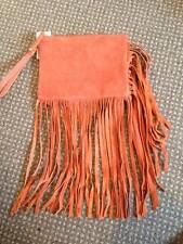 ASOS SUEDE LEATHER CLUTCH BAG FRINGED FRINGE TRIM ORANGE RUST TAN BOHO FESTIVAL