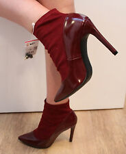 ZARA Wine Red Polish Leather & Elastic High Heel Ladies Ankle Boots UK 6  EU 39