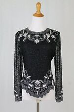 Vintage Laurence Kazar 20's 30's Inspired Beaded Long Sleeved Silk Bodice Top PS