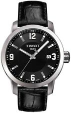 T0554101605700 TISSOT PRC 200 MENS QUARTZ WATCH BLACK DIAL/LEATHER STRAP