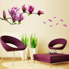 Magnolia Flowers Removable Art Vinyl Mural Home Room Decor Wall Stickers Trendy