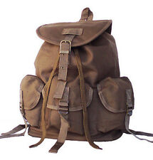 Tan Brown Military Inspired DRAWSTRING CLOSURE Canvas backpack casual bag