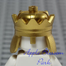 NEW Lego Minifig METALLIC GOLD CROWN King Prince Helmet Castle Kingdom Head Gear
