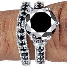 5.29ct AAA BLACK MOISSANITE ROUND CUT .925 SILVER RING SET WEDDING ENGAGEMENT NR