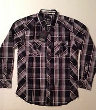 NWT L MENS LONG SLEEVE SHIRT by VARIOUS ARTISTS, BUTTON UP, PLAID, MULTI COLOR