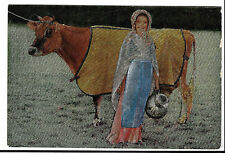 Jersey Cow & Young Milkmaid, PPC, Jersey 1979 Slogan PMK by Luminex Three Dee