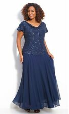 Jkara Mother Bride Beaded Navy Chiffon Formal Evening Gown NEW $238 Plus 22W