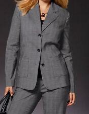 NEU große Größe Übergröße eleganter Damen Stretch Karo Blazer grau schwarz Gr.48