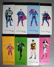 1979 D.C. COMICS SUPER HEROES MINI NOTEBOOK VENDING MACHINE SET 8 SUPERMAN BATMA