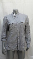 Women's H & M Light Gray Button Down Roll Sleeves Size L
