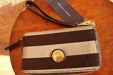 Tommy Hilfiger Women's Canvas Wallet Wristlet Black/Gray Gold  Striped  NWT