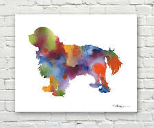 CAVALIER KING CHARLES SPANIEL Abstract Watercolor ART Print by Artist DJR