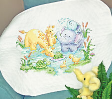 Little Pon Baby Quilt Stamped Cross Stitch Dimensions Cross Stitch Kit 43x34 NEW