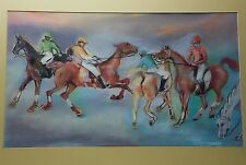 Horse Racing Jockeys Pastel on Paper Framed Picture Artist Signed