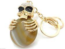 Skull Natural Stone Biker Keychain Key Charm Chain Crystal