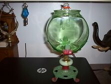 VINTAGE GREEN DEPRESSION GLASS FISH BOWL WITH HOLDER & CAT FISHING