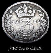 1891 REGINA VITTORIA Argento 3d Soldini Coin-Gran Bretagna