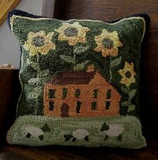 Hooked Wool Sunflower Sheep & Saltbox House Large Country Home Accent Pillow