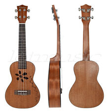 Mahogany Concert Ukulele 23 inch Hawaii Guitar Rosewood Bridge Carved Footprint
