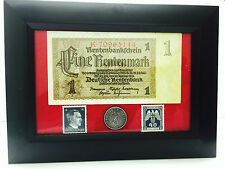 WW2 Rare Nazi 1 Mark Bill 10 rp Coin wth SWASTIKA Hitler Stamp in Disp Frame
