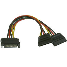 SATA power splitter  cable adapter SATA power Y one male to 2 female connectors.