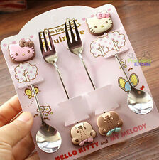 New Cute 4 pcs Hello Kitty & Teddy Bear Coffee Cake Fruit Dessert Scoops Fork