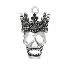 Skull with Crown Charm Pendant for Necklace