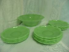ANTIQUE FRENCH OR ITALIAN GREEN OPALINE GLASS SET - SCALLOPED BOWL w/TEN PLATES