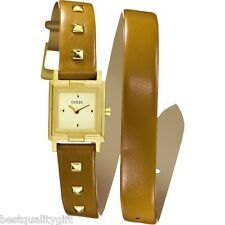 GUESS TAN,BROWN LEATHER+GOLD TONE STUDS,DIAL DUAL,DOUBLE WRAPPING WATCH U75059L1