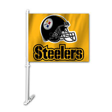 NFL NWT CAR WINDOW FLAG PITTSBURGH STEELERS HELMET ON GOLD