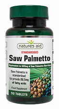 Saw Palmetto 500mg x 90 tablets Vegan Vegetarians - Natures Aid - FREE UK POST