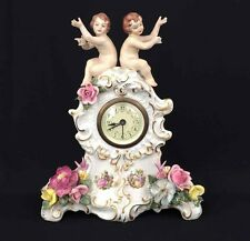 Dresden Porcelain Mantel Figural Wind-up Clock Cherubs Floral Decoration 1960's