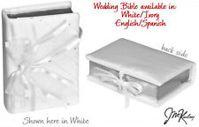 Beautiful Elegant WHITE Fabric Wedding Bible ENGLISH, Bow & Rhinestones 260w