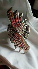 Vintage Art Deco Henco En Mexico Taxco Sterling Silver Clamper Bracelet!!!!