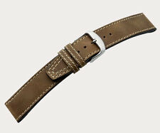 "DI-Modell Genuine Vintage Waterproof Leather 24 mm M' BROWN Watch Band ""NEVADA"""