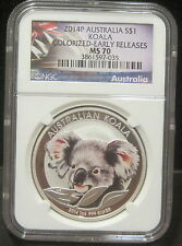 2014-P Australia $1 Koala-Colorized-1 oz. 999 Silver-NGC MS70 Early Releases-035