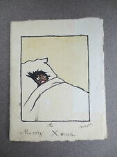 ANTIQUE Christmas Card Hand Painted Crying Black Child in Bed