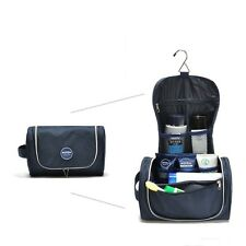 New Mens Navy Blue Travel Hanging Toiletry Wash Bags Organizer Kit Case Nylon