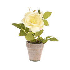 22cm Artificial Potted Rose - Cream Flowers - Ideal for use Indoors or Outdoors