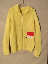 S4947 Medium Handmade Yellow Knitted Snoopy Full Zip Collared Sweater