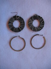 FASHION JEWELRY - 2 SETS OF HOOP EARRINGS - METAL & FABRIC WITH METAL CHAIN