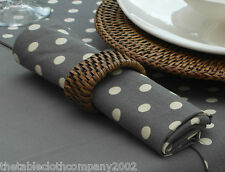 PACK OF 4 VINTAGE GREY WITH CREAM POLKA DOT / SPOTTED COTTON NAPKINS