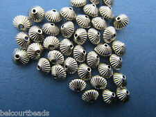 50 Silver 7x6mm Metal Spacer Beads with Shell Pattern Lead Nickel Cadmium Free